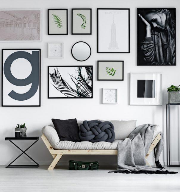 Modern living room in scandinavian style with wicker carpet